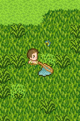 草を切ると蝶が出てくる
