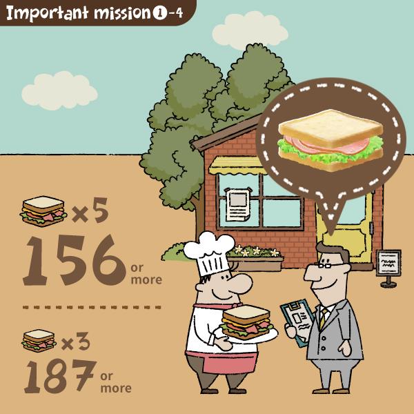 156点以上のサンドイッチを届けよう
